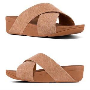 Fitflop 9 Lulu Cross Slide Sandal Beige Shimmer